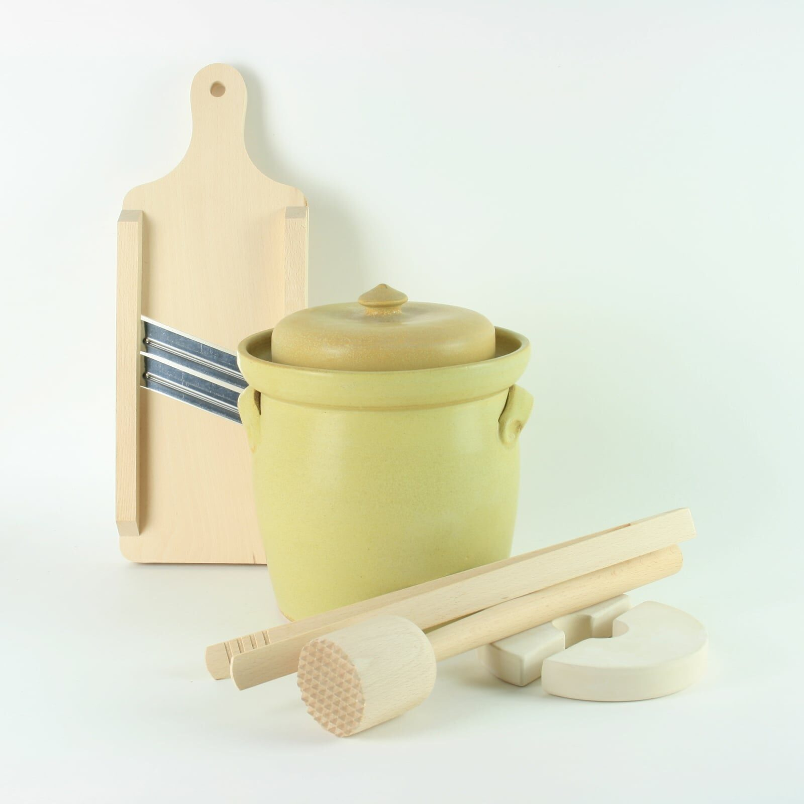 handmade 2.5 litre ceramic fermentation crock set for making sauerkraut, kimchi and pickles with wooden tools
