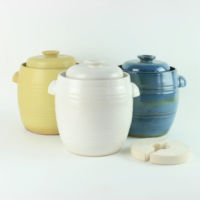 handmade 2.5 litre ceramic fermentation crocks for making sauerkraut, kimchi and pickles