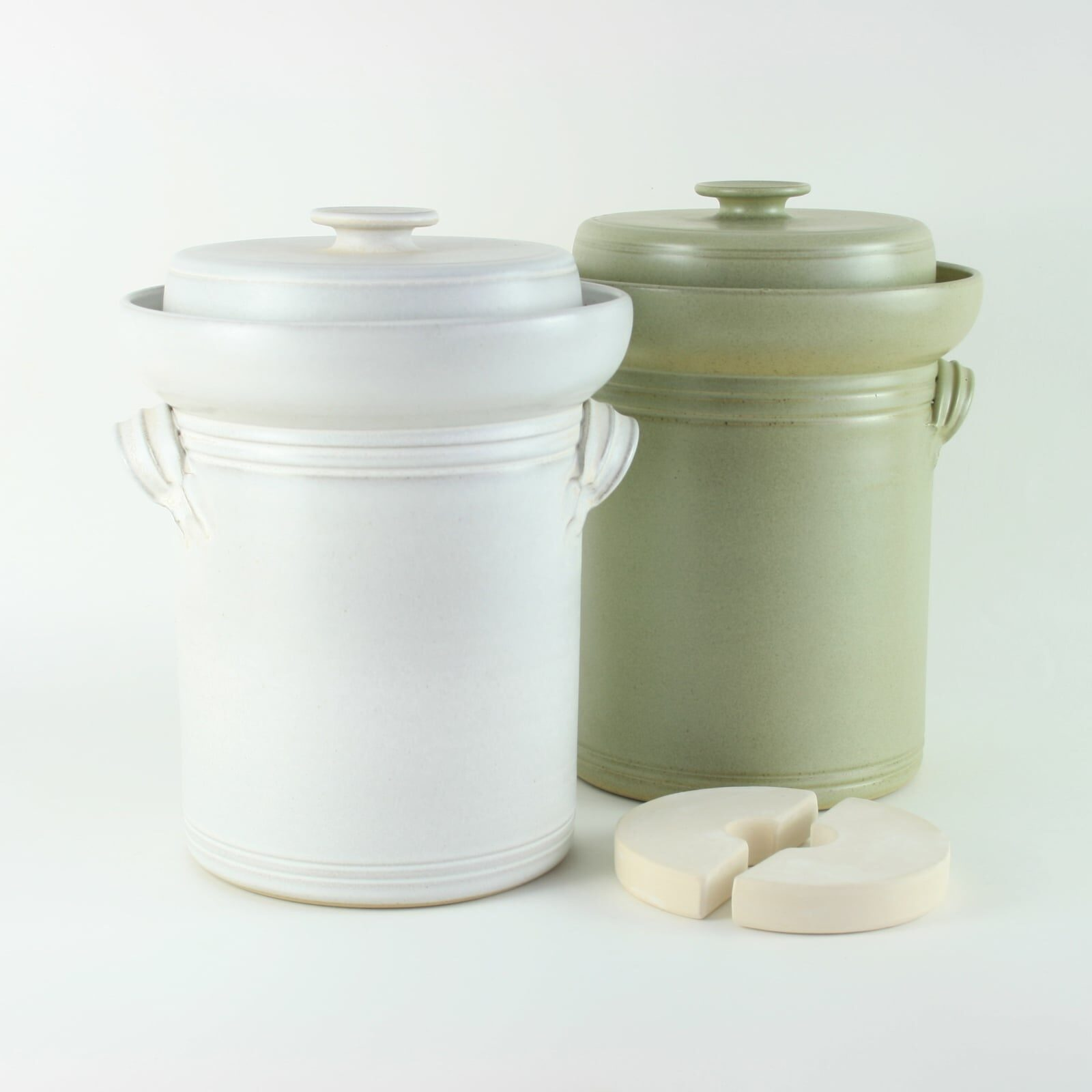 handmade 4 litre ceramic fermentation crocks for making sauerkraut, kimchi and pickles