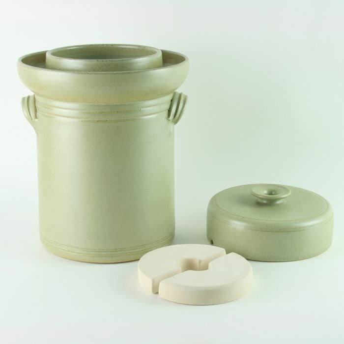 handmade 4 litre ceramic fermentation crock for making sauerkraut, kimchi and pickles