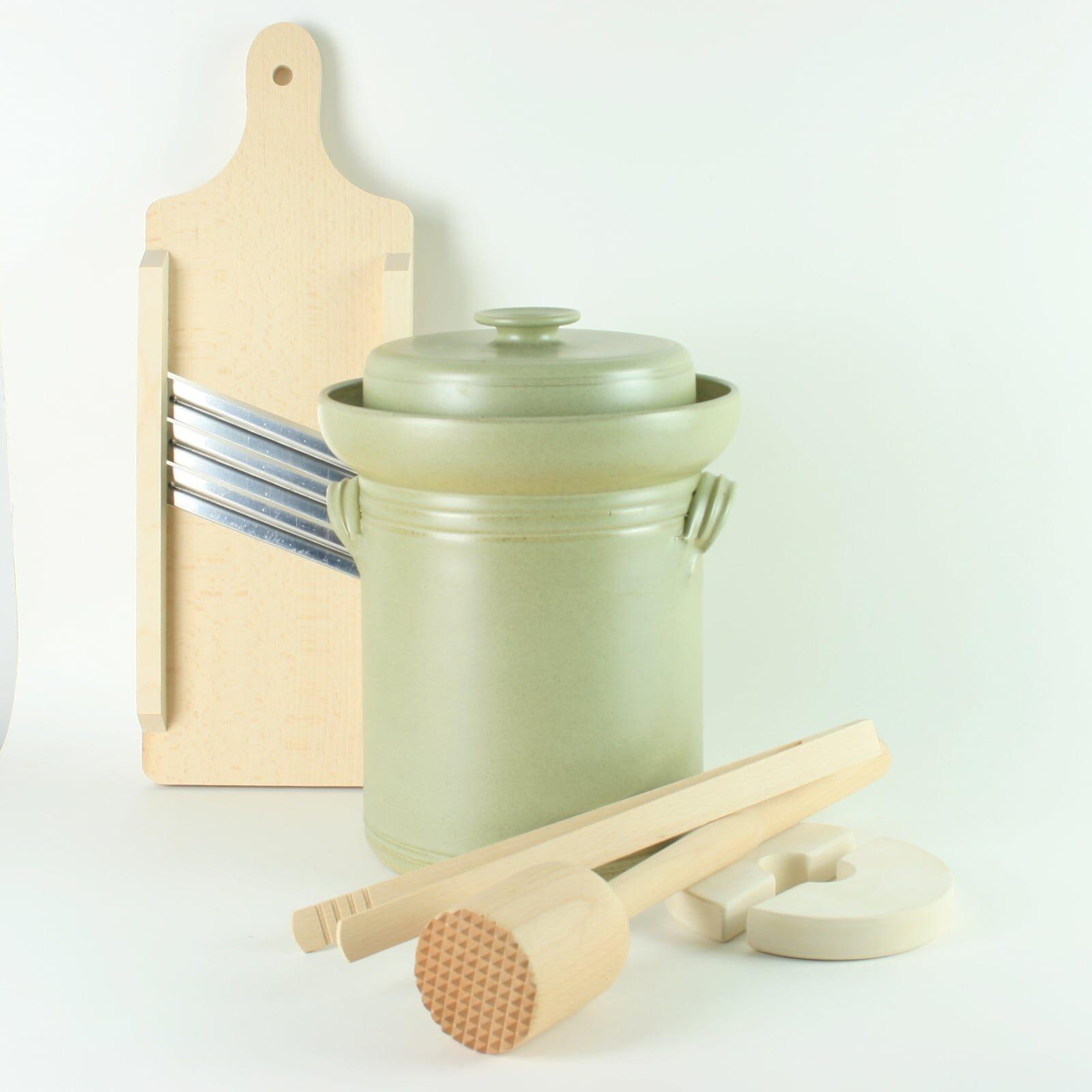 handmade 4 litre ceramic fermentation crock set for making sauerkraut, kimchi and pickles with wooden tools