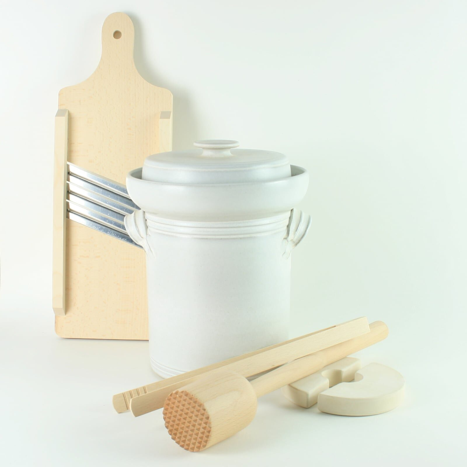 handmade 4 litre ceramic fermentation crock set for making sauerkraut, kimchi and pickles with wooden tools