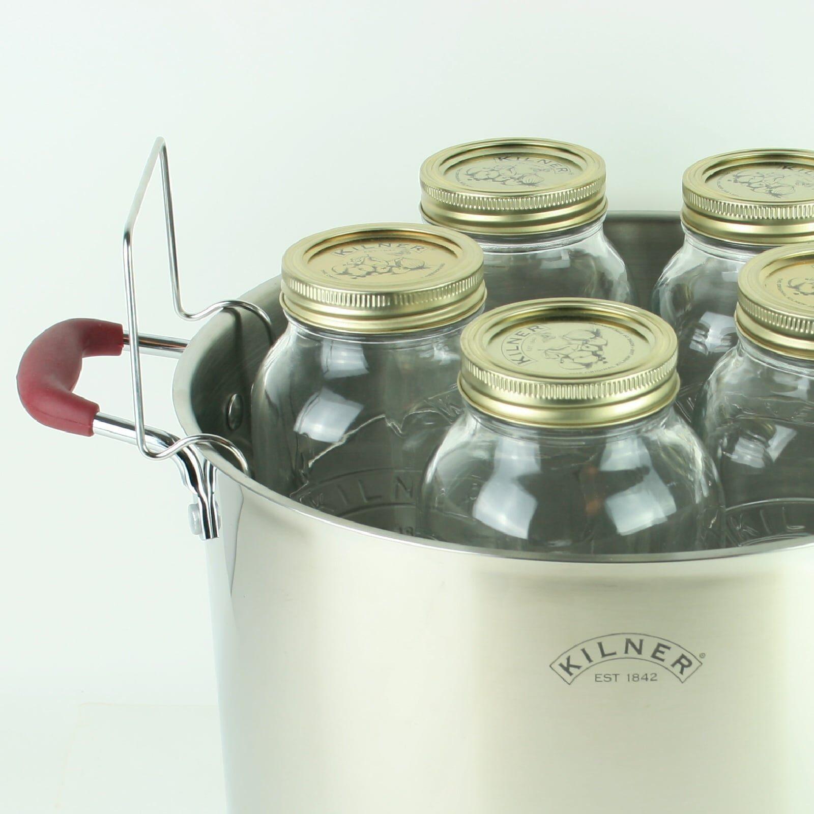 Kilner Canning Pan Canner Set with Rack for 5 1 Litre Preserve Jars