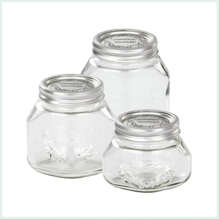 Leifheit Wide Mouth Preserve Jars for Jam Making and Canning