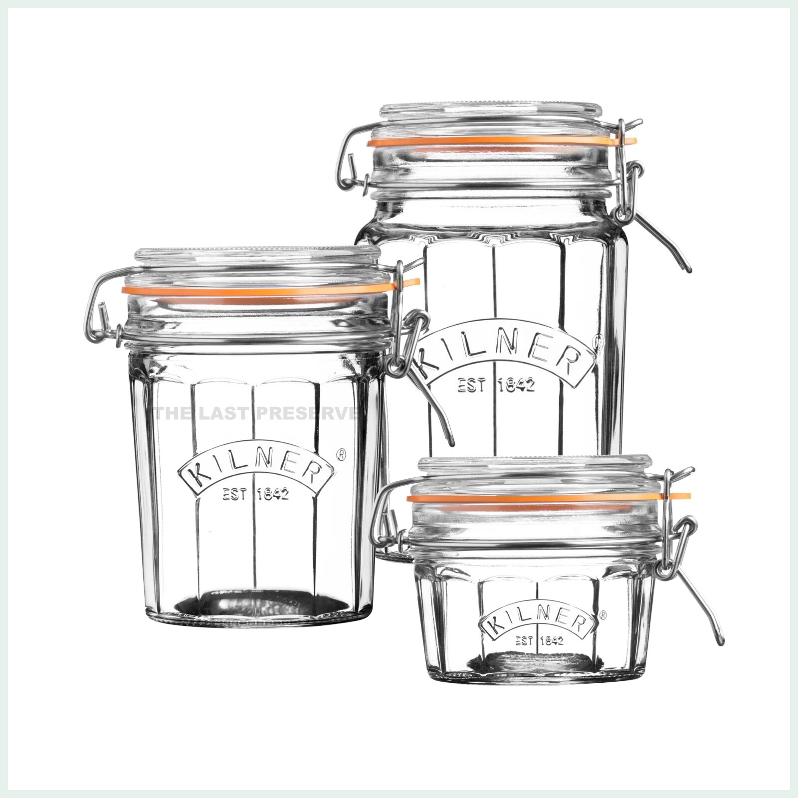 Kilner faceted clip top preserve jars for dry storage, jam making and pickling. Available in 3 sizes.