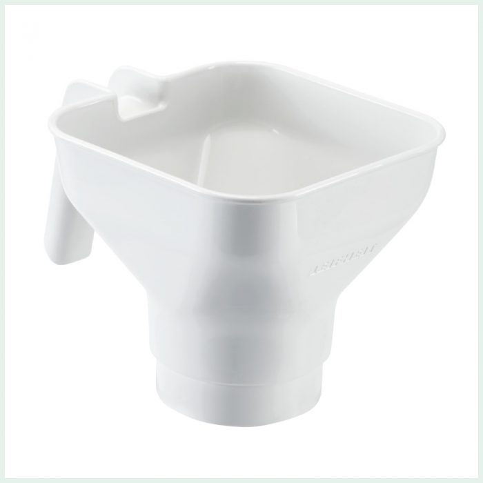 Leifheit large jam funnel for easy filling of wide mouth preserve jars.
