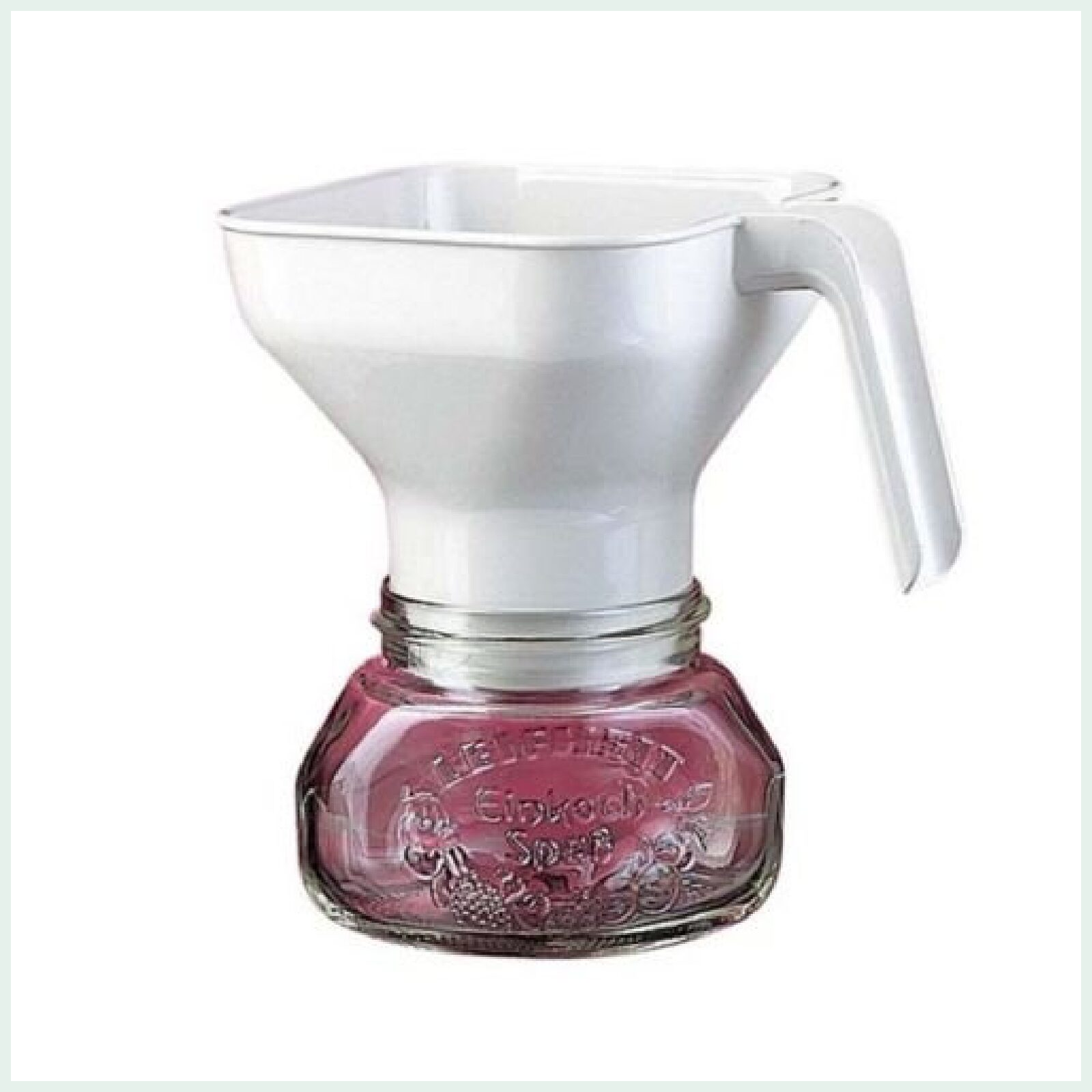 Leifheit large preserve jar funnel for easy filling of wide mouth preserve jars.