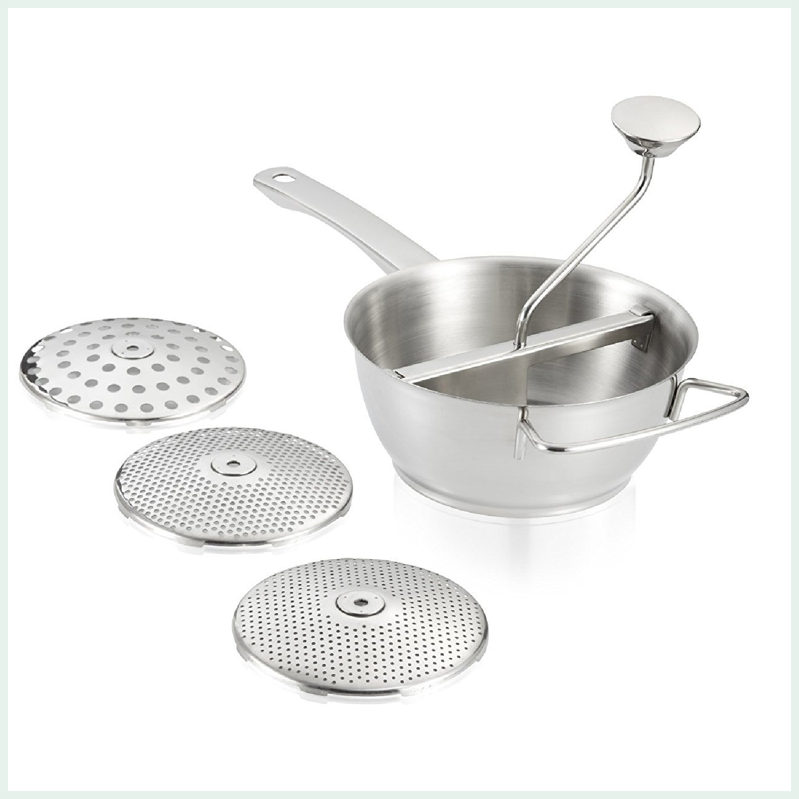 Leifheit Proline food mill. East sieving and straining with this high quality stainless steel mouli. With 3 insert discs.