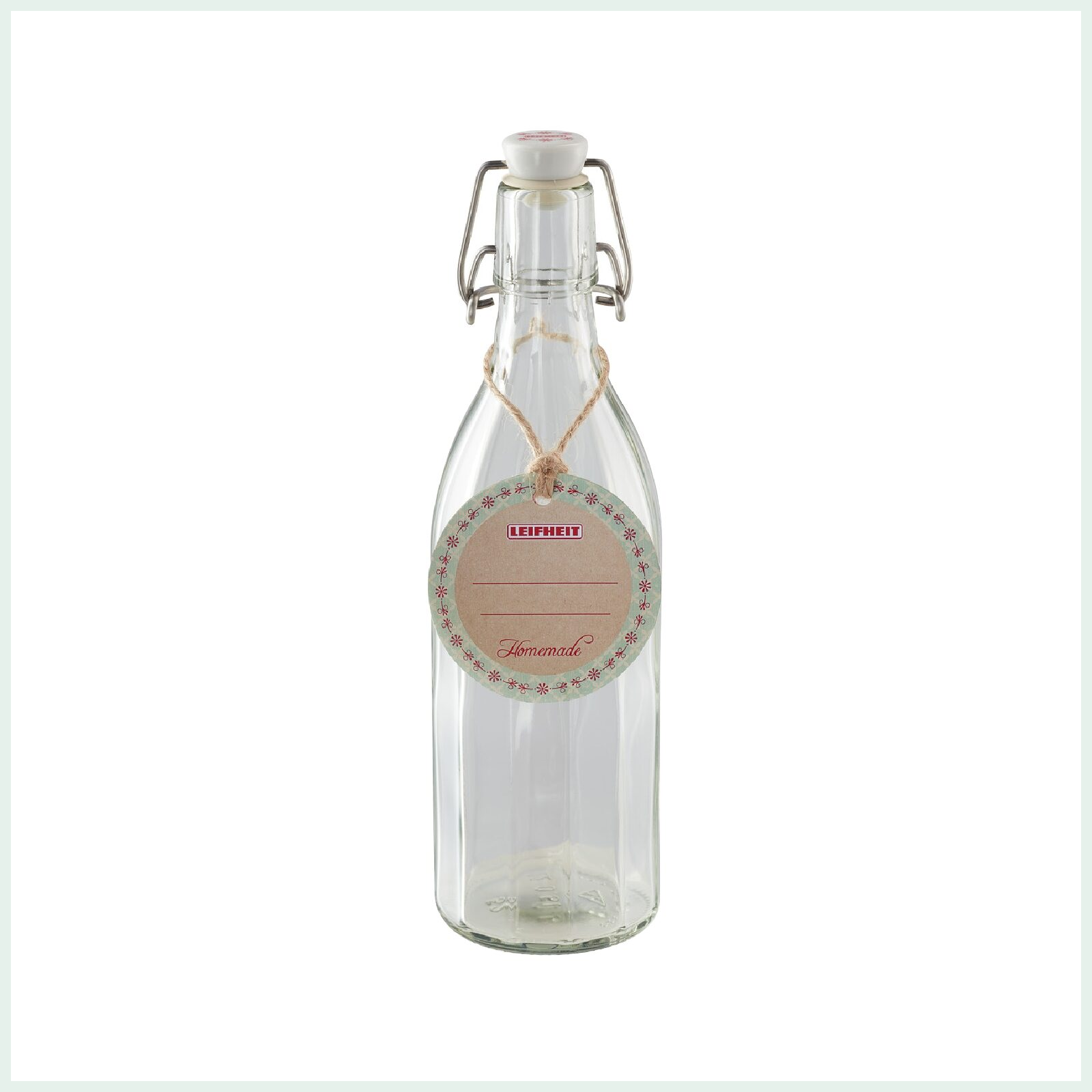 Leifheit preserve bottle with swing top closure and faceted design. Ideal for cordials and kombucha.