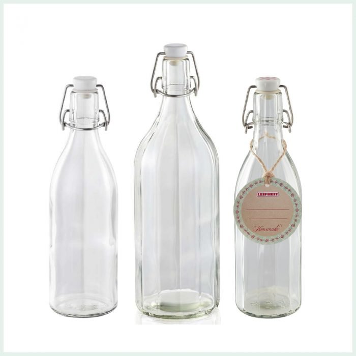 Leifheit preserve bottles with swing top closure and faceted or round designs. Ideal for cordials, kombucha and juices.