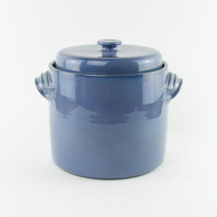 2 litre handmade ceramic sauerkraut crock in blue with weight stones