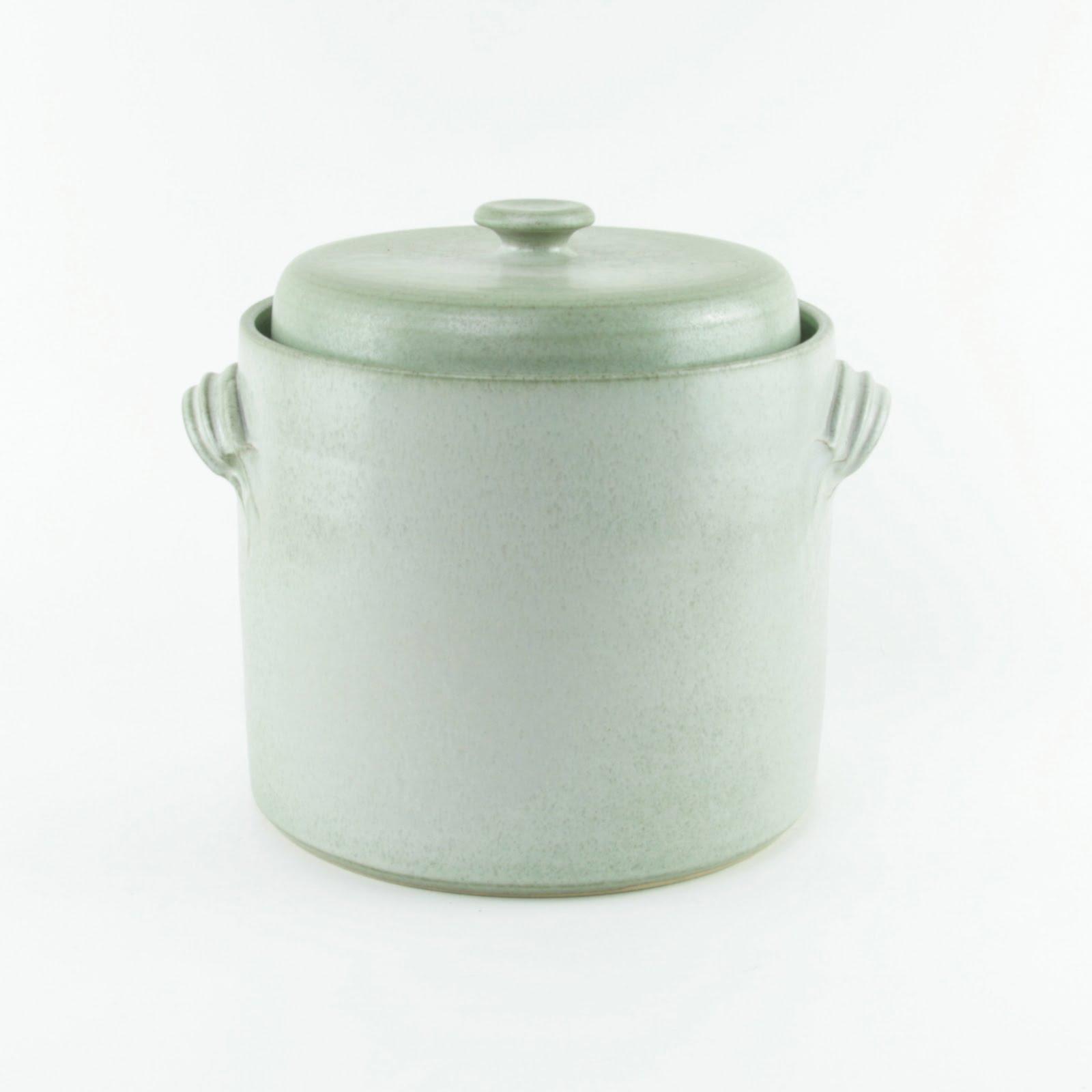 2 litre handmade ceramic sauerkraut crock in green with weight stones