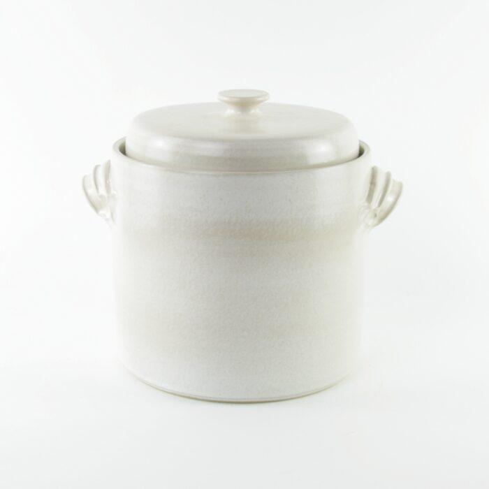 2 litre handmade ceramic sauerkraut crock in white with weight stones