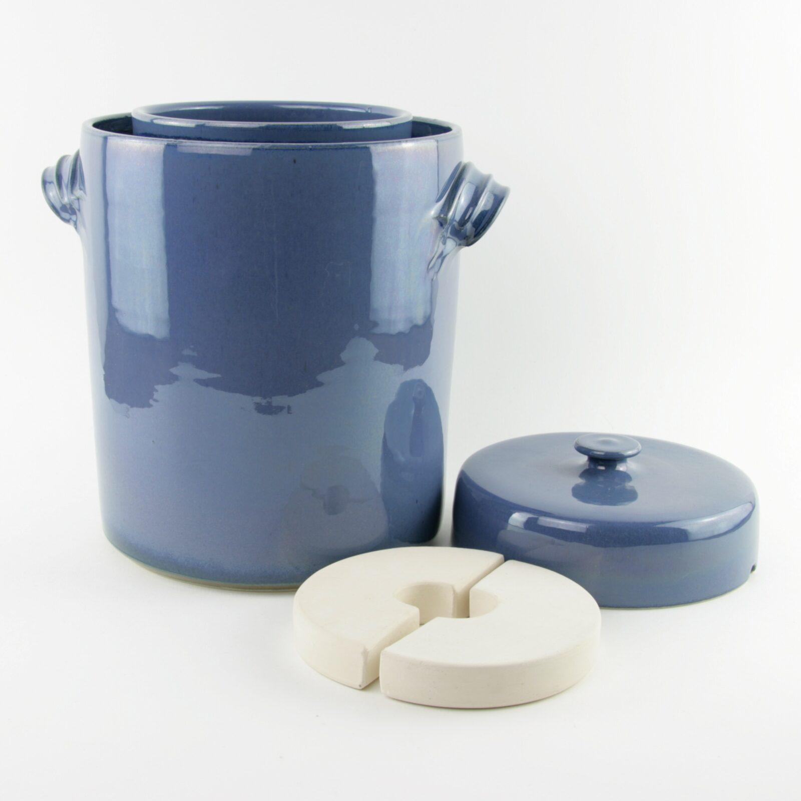 4 litre handmade ceramic sauerkraut crock in blue with weight stones