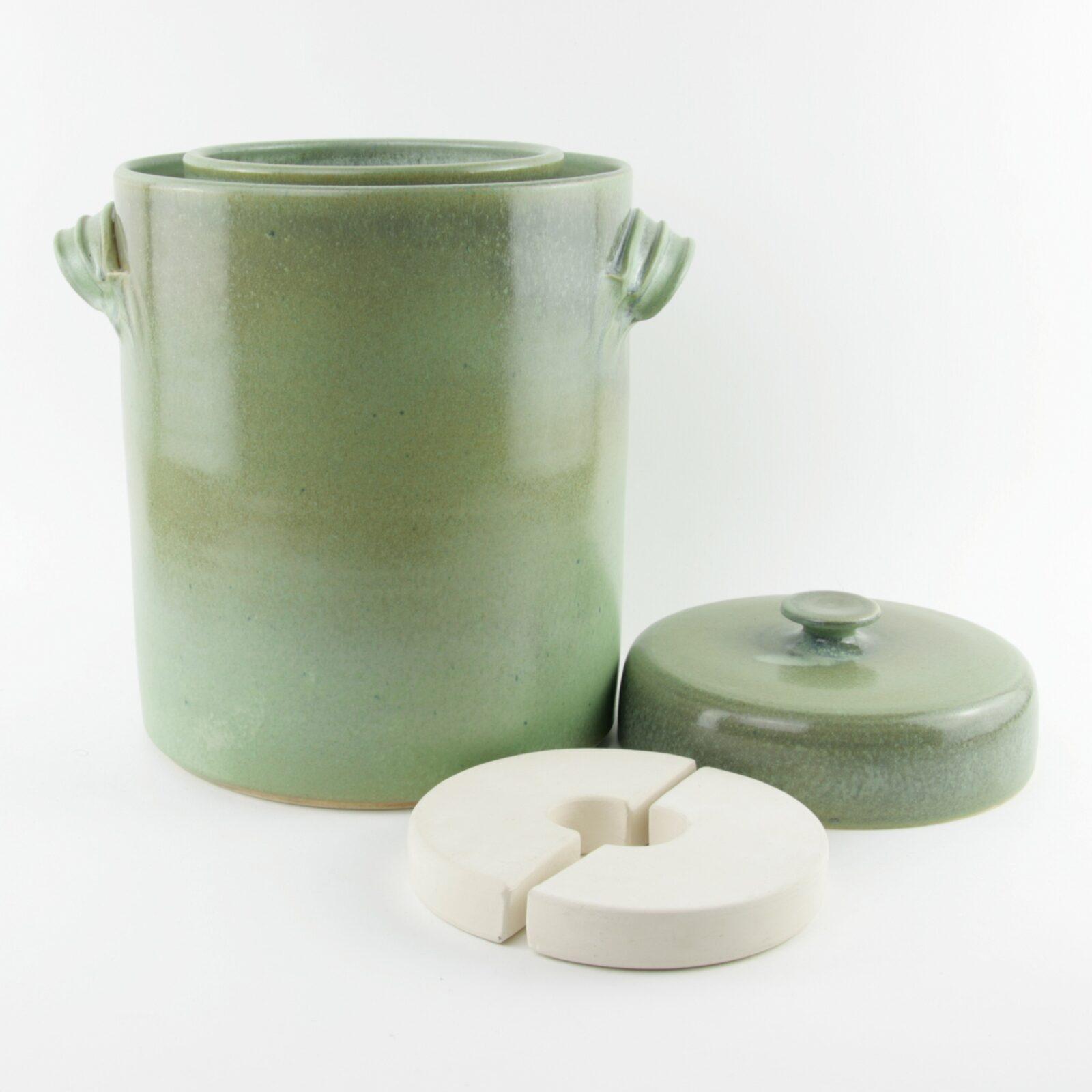 4 litre handmade ceramic sauerkraut crock in green with weight stones