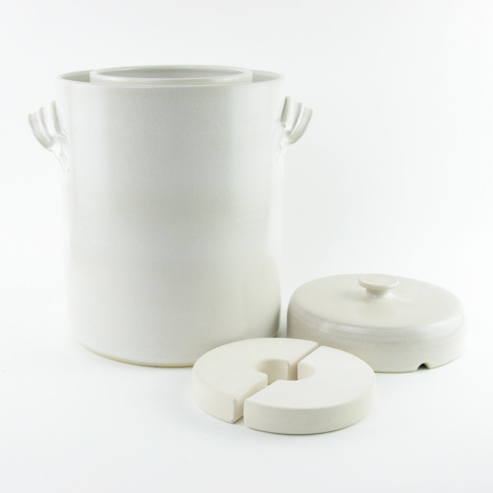 4 litre handmade ceramic sauerkraut crock in white with weight stones