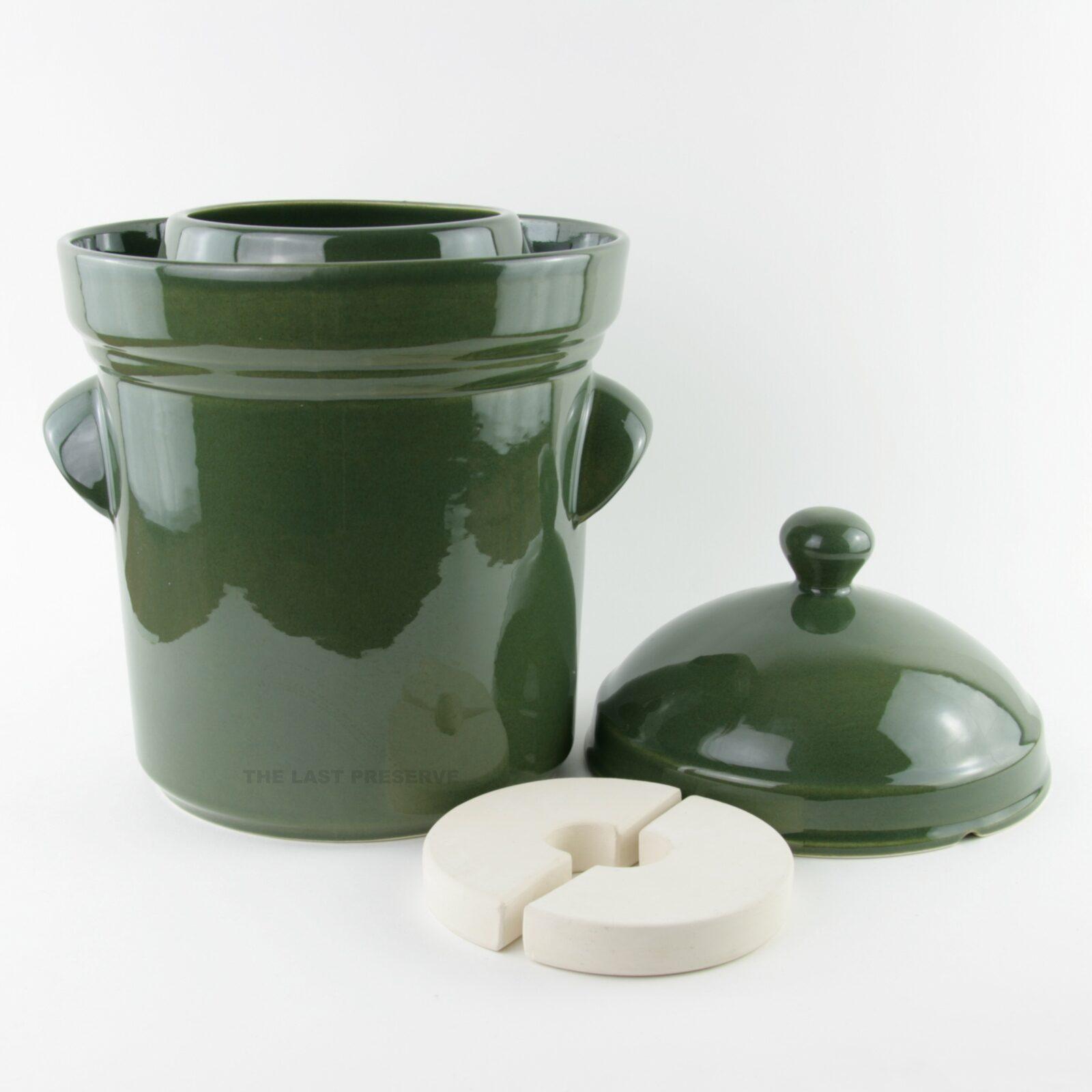 10 Litre green ceramic fermentation crocks by Zaklady Ceramiczne Boleslawiec