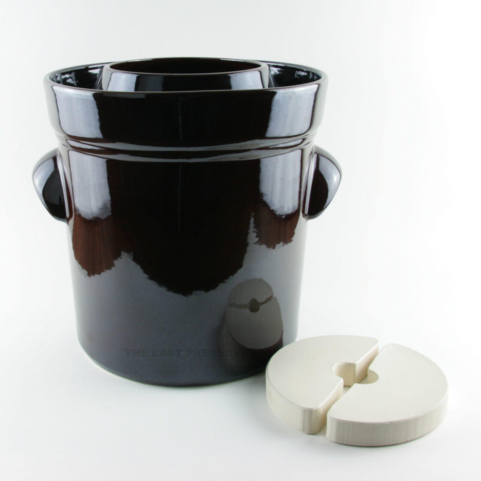 15 litre brown ceramic fermentation crocks by Zaklady Ceramiczne Boleslawiec