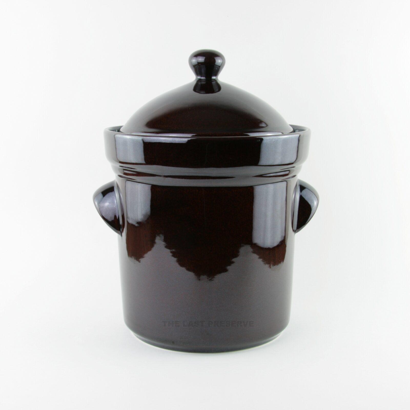 5 litre brown ceramic fermentation crocks by Zaklady Ceramiczne Boleslawiec