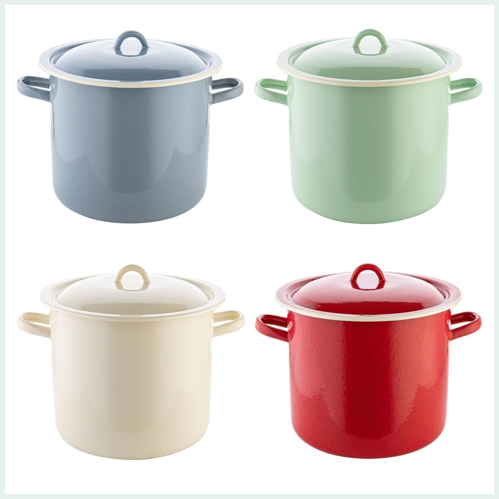 15 litre enamel stock pots in 4 colours for canning and pasteurising