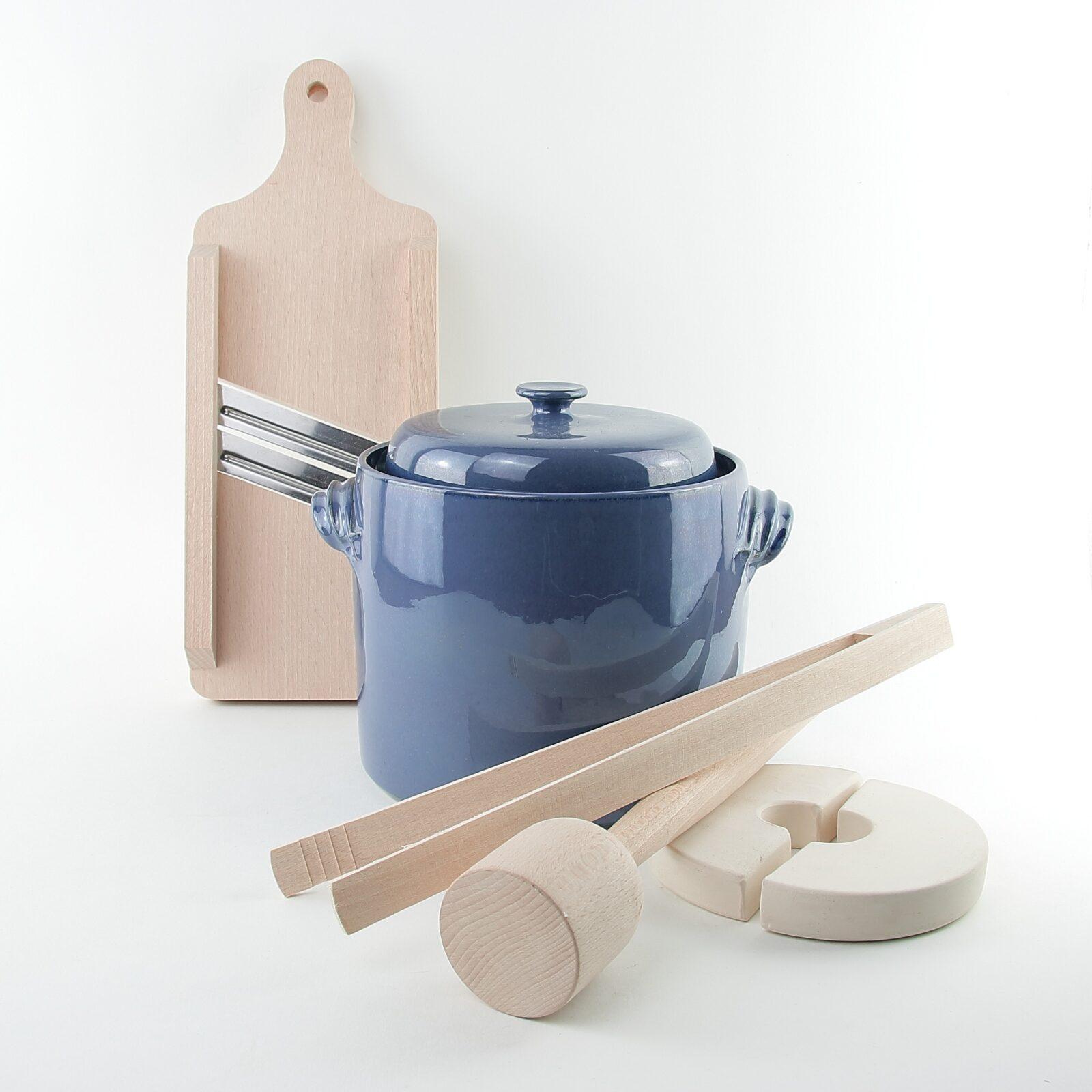 2 litre handmade ceramic sauerkraut crocks with wooden tools