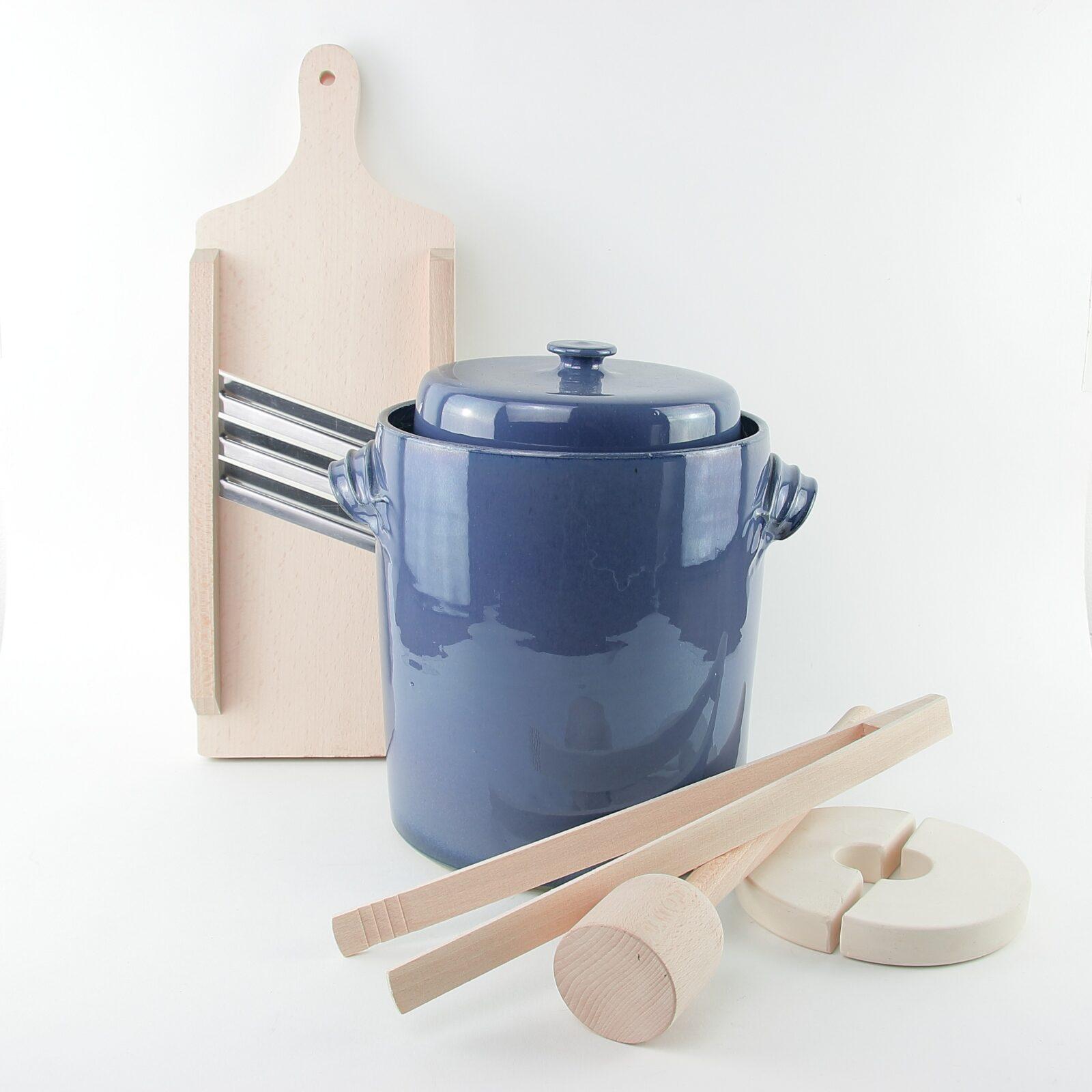 4 litre handmade ceramic sauerkraut crocks with wooden tools