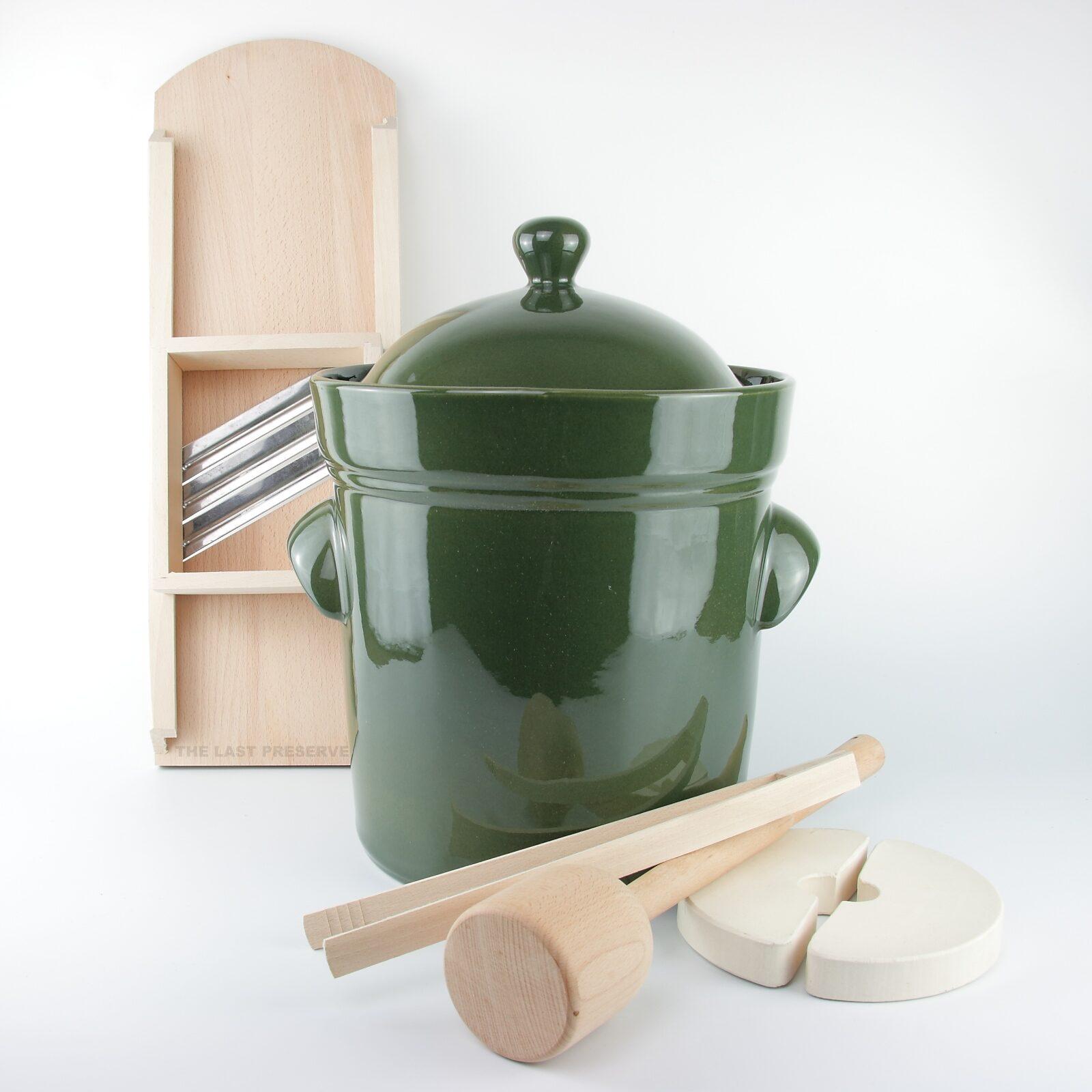 10 Litre ceramic sauerkraut crocks with wooden tools by Zaklady Ceramiczne Boleslawiec