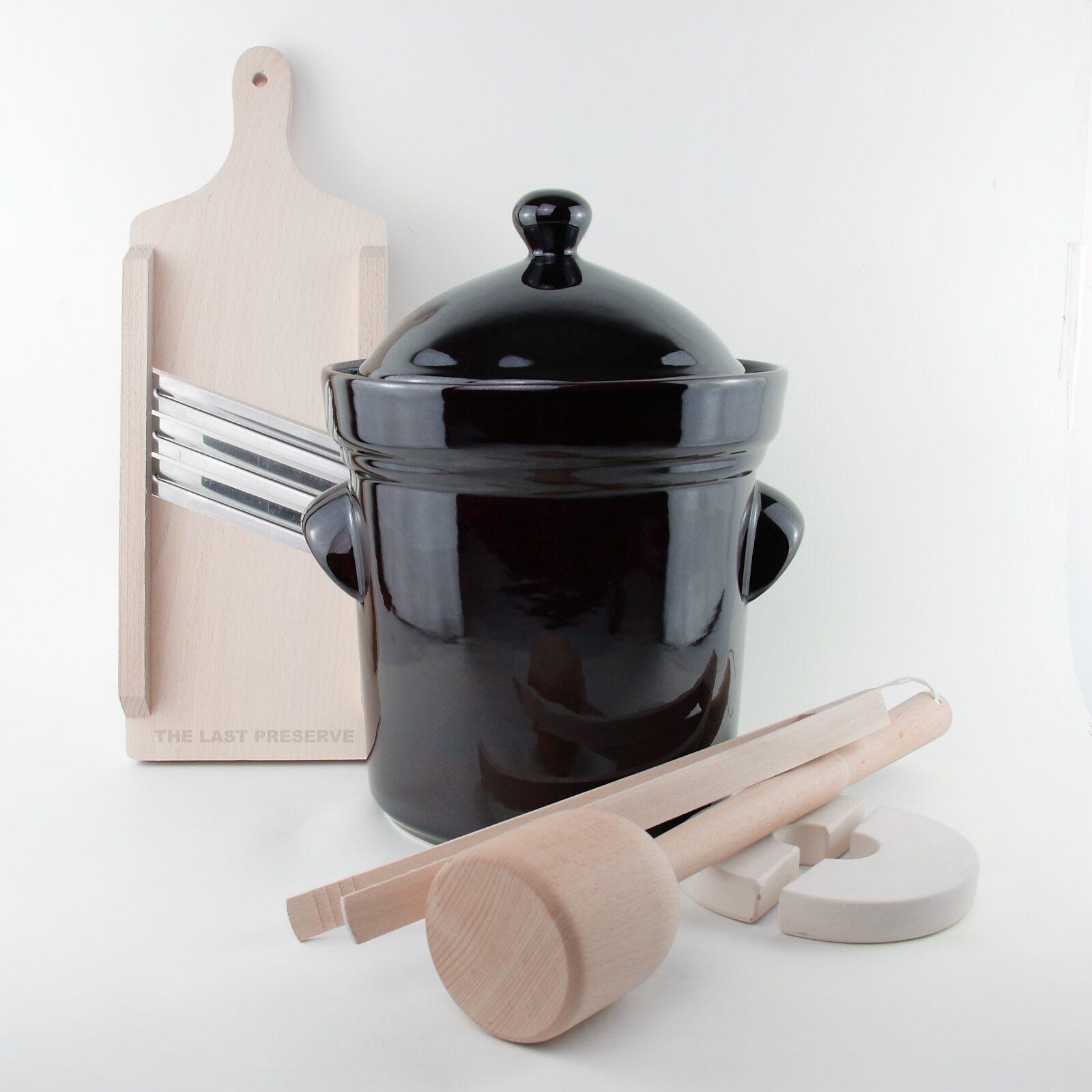 5 Litre ceramic sauerkraut crocks with wooden tools by Zaklady Ceramiczne Boleslawiec