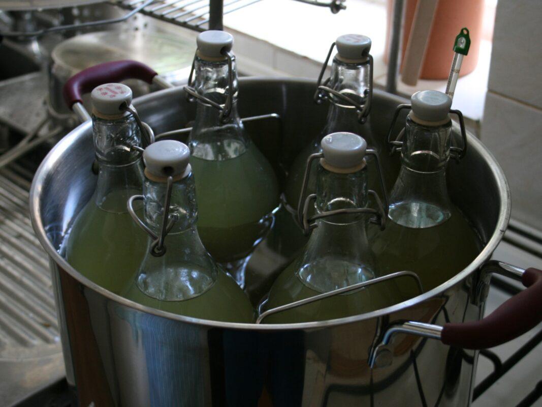 Pasteurising elderfloerr cordial bottles in a canning pan