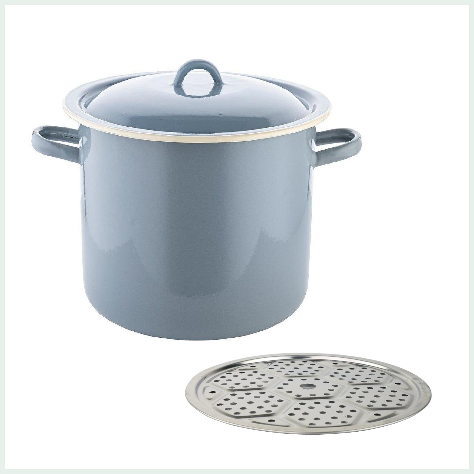 15-litre-enamel-water-bath-canner-set-with-rack-trivet-blue