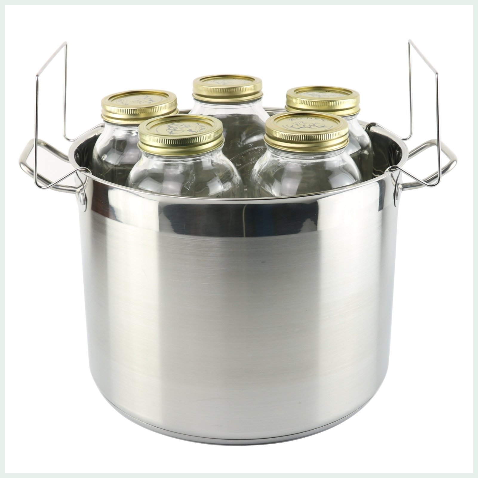 stainless steel water bath cannner with canner rack for 5 x 1L canning jars
